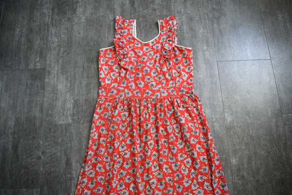 1940s pinafore dress . vintage 40s dress