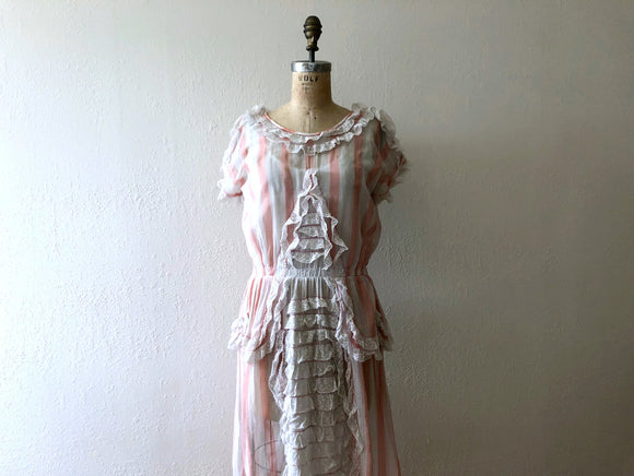 Vintage 1920s dress . antique striped dress