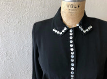 Load image into Gallery viewer, 1940s blouse . vintage 40s black top