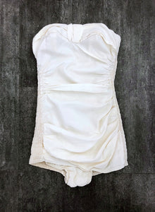 1940s 1950s swimsuit . vintage ivory bathing suit