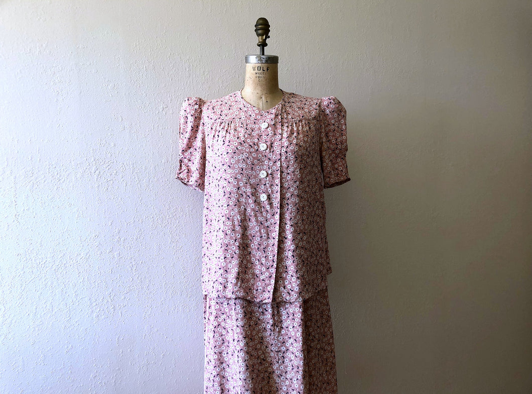 1940s maternity set . vintage 40s cold rayon dress