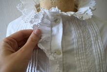 Load image into Gallery viewer, Antique cotton top . vintage white ruffled top