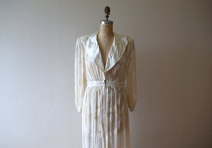 1940s chiffon dressing gown . vintage 40s robe