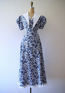 1930s cotton gown and bolero . vintage 30s dress