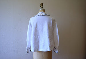 Antique top . vintage ruffled button front top