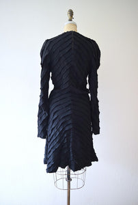 1940s black ruffled dress . vintage 40s dress