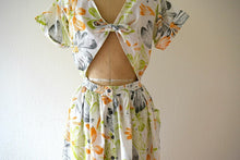 Load image into Gallery viewer, 1980s floral print dress . vintage 80s open back dress