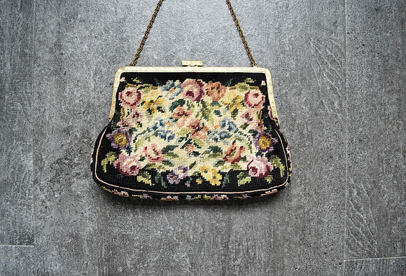 1930s 1940s petit point purse . vintage tapestry handbag
