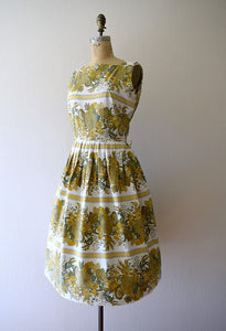 Vintage 1950s dress . 50s striped floral sundress