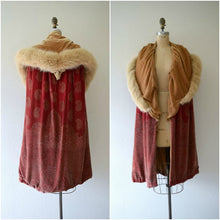Load image into Gallery viewer, 1920s silk velvet cape . vintage 20s stenciled velvet cape
