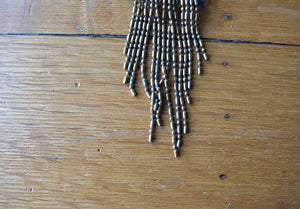 1940s brass necklace . vintage 40s fringe necklace