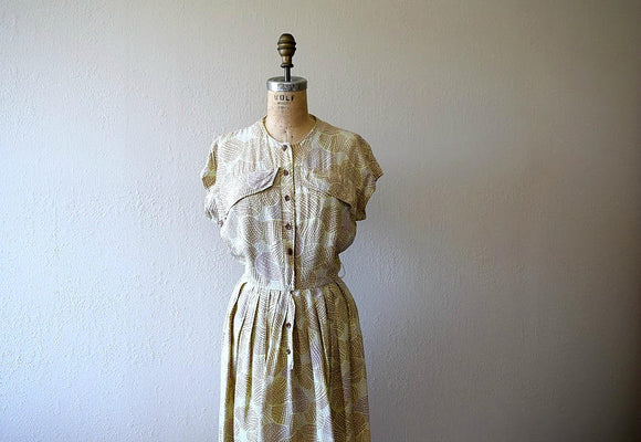 1940s cold rayon dress . vintage 40s WWII era dress
