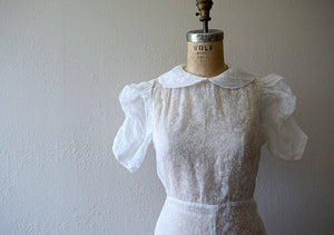 Vintage 1930s dress . white 30s wedding dress