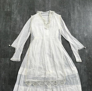 Antique cotton dress . vintage white 1910s dress
