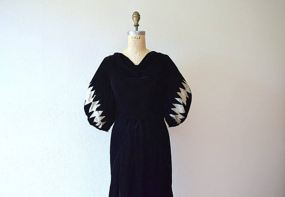 1930s velvet dress . vintage 30s lame sleeve dress