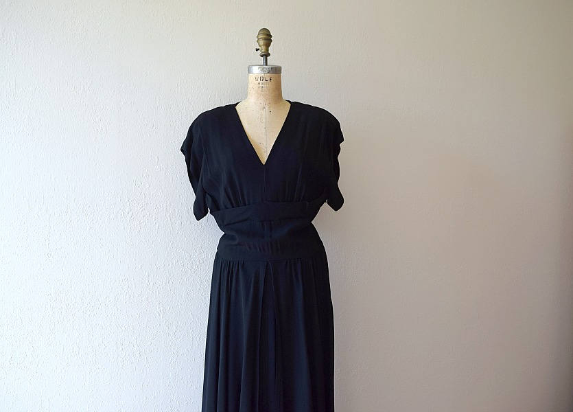 1940s black gown . vintage 40s rayon dress
