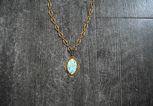 1930s necklace . vintage 30s brass and faux turquoise necklace