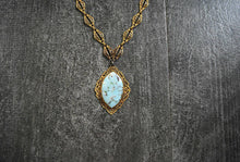 Load image into Gallery viewer, 1930s necklace . vintage 30s brass and faux turquoise necklace
