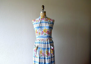 1950s dress . vintage 50s striped floral dress