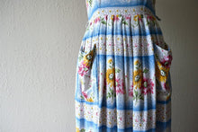 Load image into Gallery viewer, 1950s dress . vintage 50s striped floral dress
