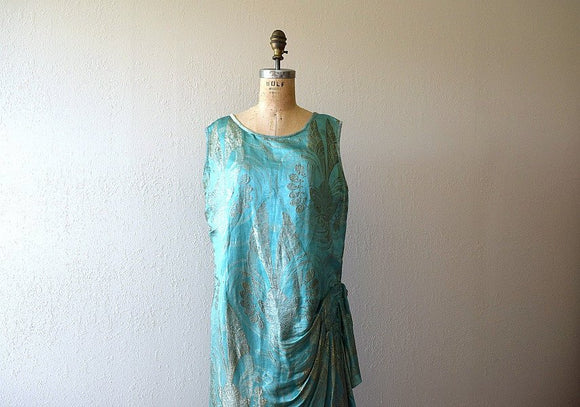 1920s lame dress . vintage 20s silk and lame gown