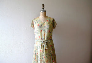 1930s silk chiffon dress . vintage 30s dress