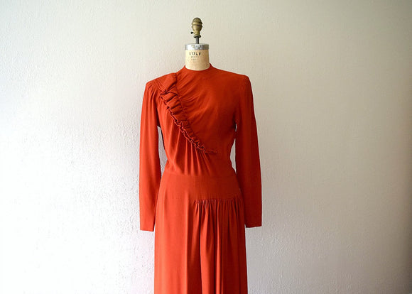 Red 1940s dress . vintage 40s ruffled rayon dress