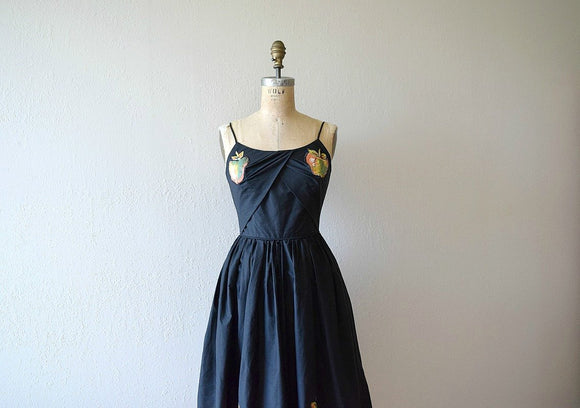 Vintage 1950s sundress . black apple appliqués dress