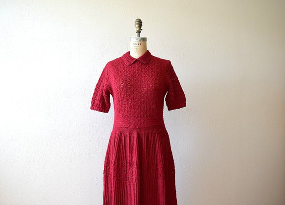1950s red knit dress . vintage 50s wool dress