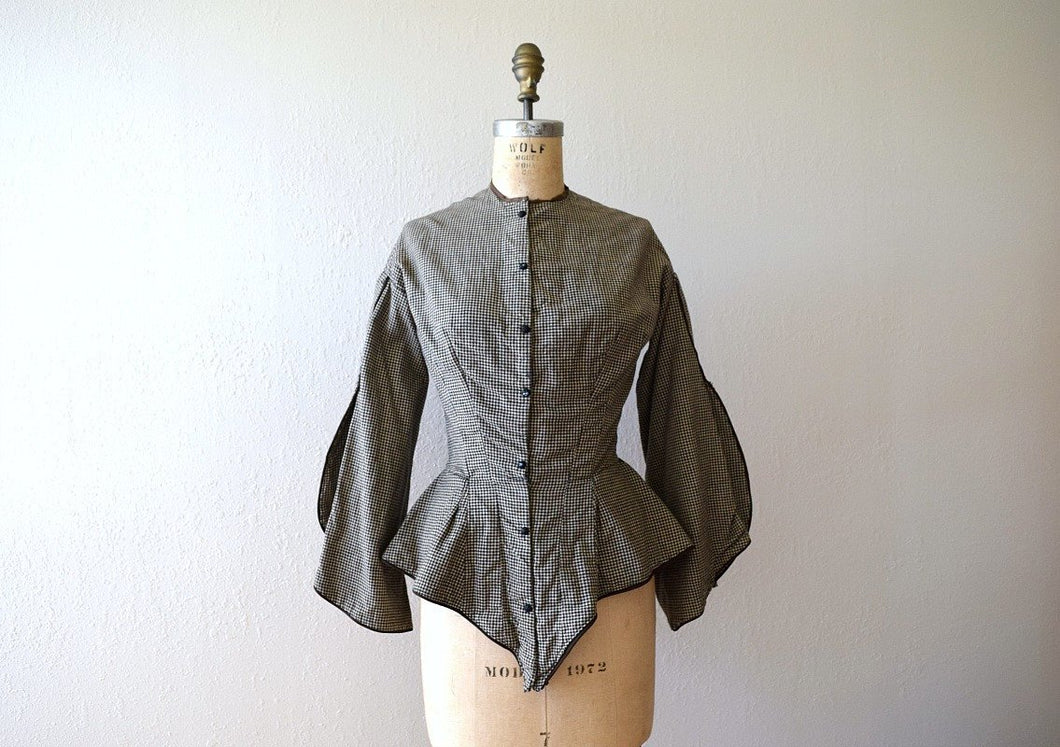 Victorian bodice . antique gingham jacket