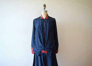 1920s silk dress . vintage 20s navy blue dress