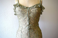 Load image into Gallery viewer, 1930s green lace and gold lame gown . vintage 30s dress