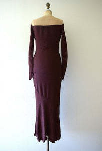 1930s knit gown . vintage 30s purple rayon knit dress
