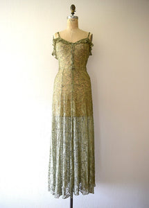 1930s green lace and gold lame gown . vintage 30s dress