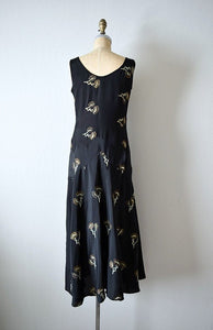 1920s 1930s dress . vintage black embroidered art deco gown