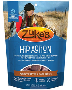 Zuke's Hip Action Peanut Butter & Oats Recipe Dog Treats 6 Oz