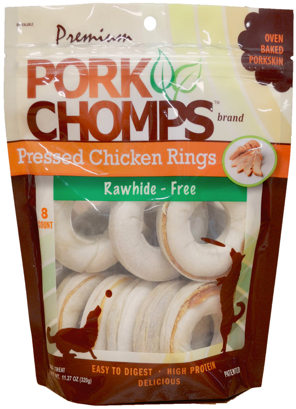 Pork Chomps Real Chicken Rings Dog Treats 8 Count