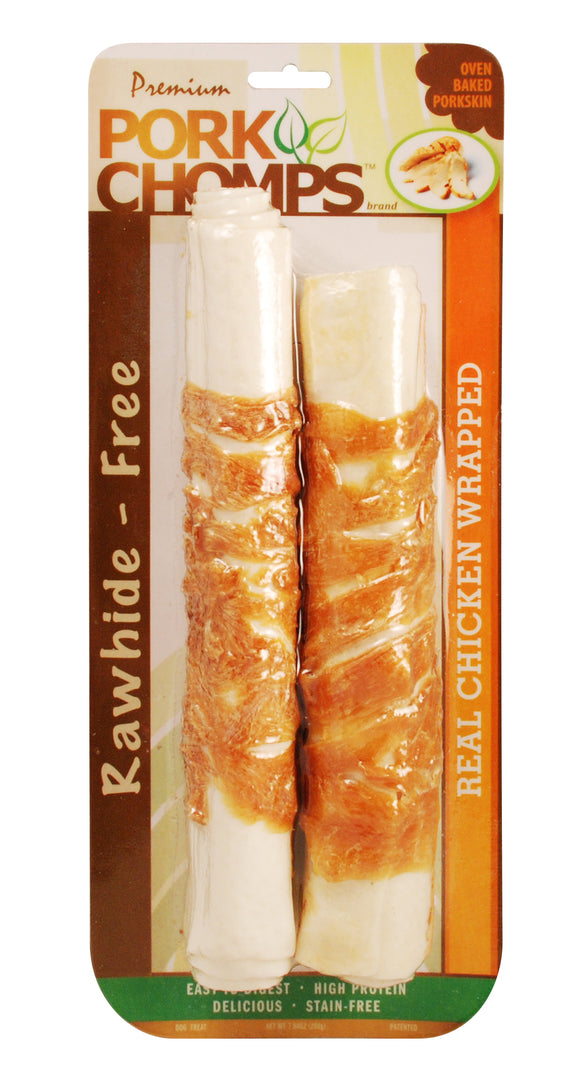 Pork Chomps Real Chicken Wrapped Expanded Roll Dog Treats 12 Count
