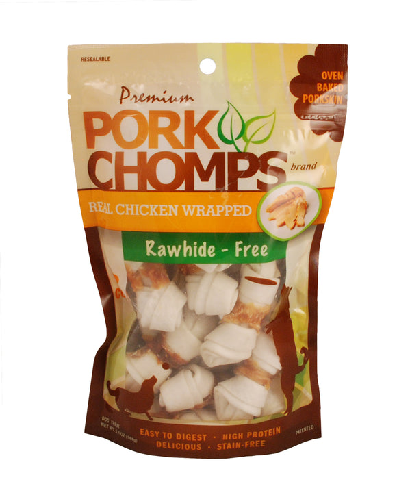 Pork Chomps Real Chicken Wrapped Mini Knotz Dog Treats 12 Count