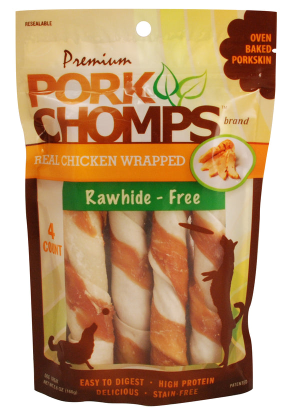Pork Chomps Real Chicken Wrapped Large Twists Dog Treats 12 Count