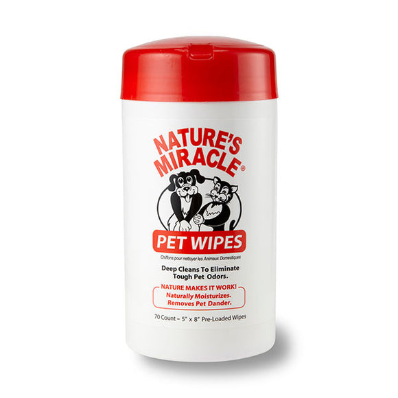 Nature's Miracle Deep Clean Odor Eliminator Pet Wipes 70 Count
