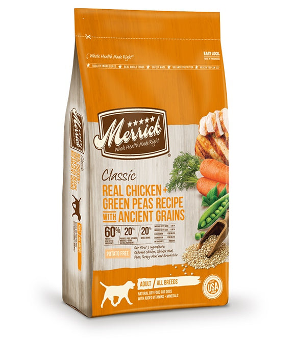Merrick Classic Real Chicken & Green Peas Recipe with Ancient Grains Dog Food 12 Lbs