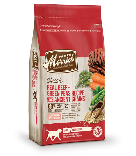 Merrick Classic Real Beef & Green Peas Recipe with Ancient Grains Dog Food 12 Lbs