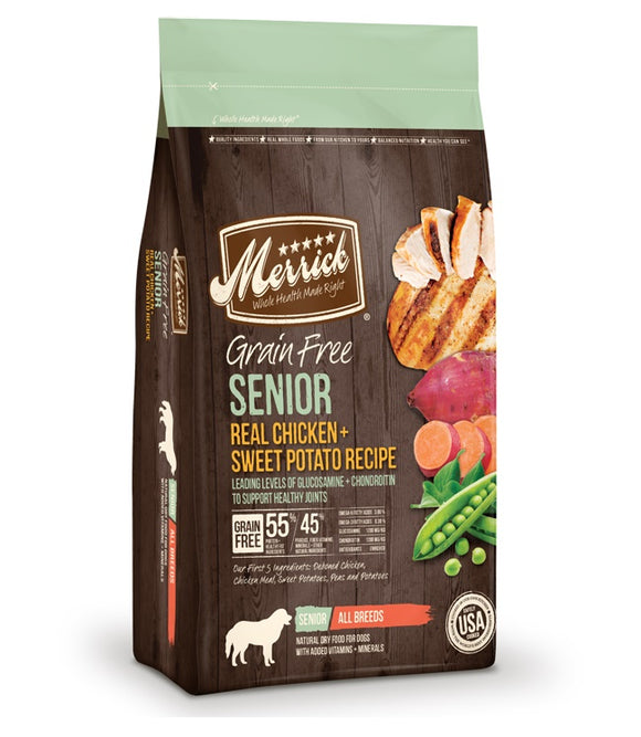 Merrick Grain Free Real Chicken & Sweet Potato Recipe Senior Dog Food 12 Lbs