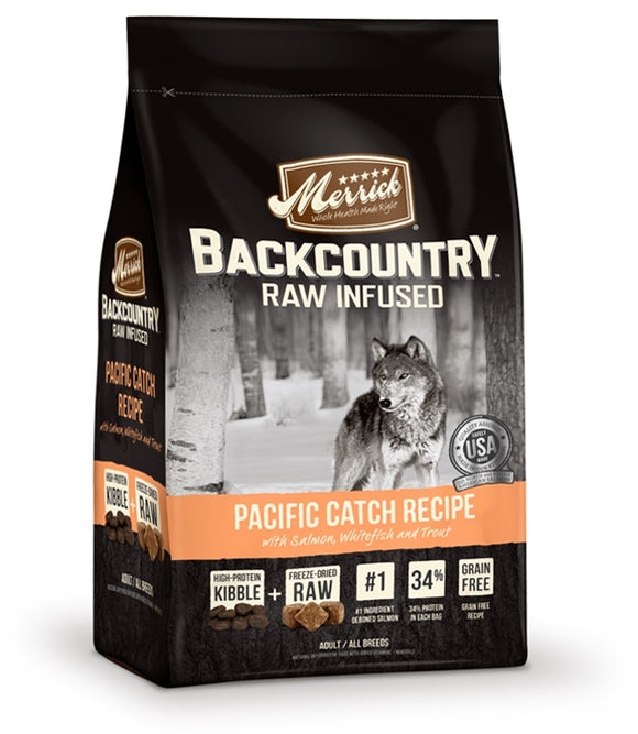 Merrick Backcountry Raw Infused Pacific Catch Recipe Dog Food 12 Lbs