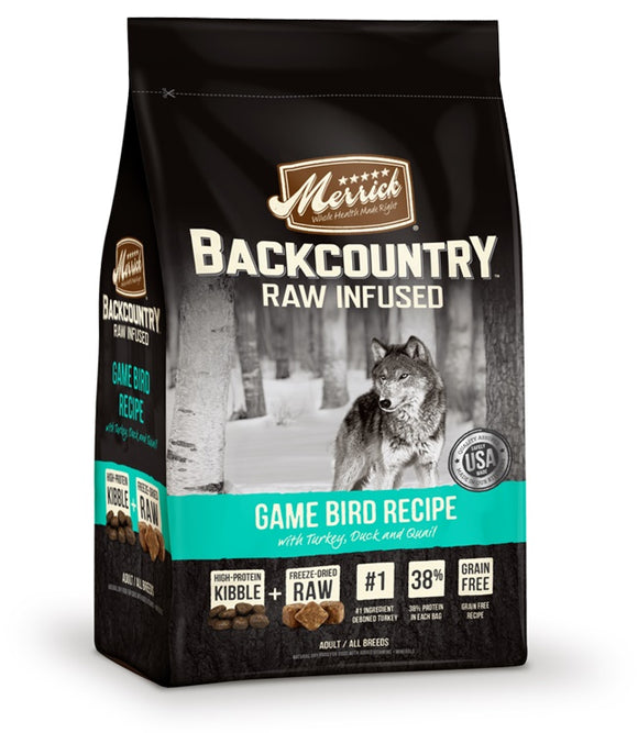 Merrick Backcountry Raw Infused Game Bird Recipe Dog Food 22 Lbs