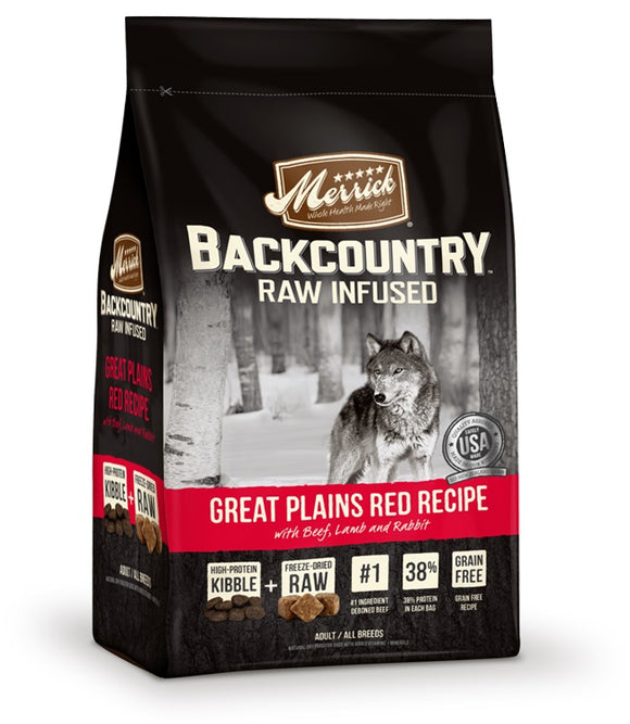 Merrick Backcountry Raw Infused Great Plains Red Recipe Dog Food 22 Lbs