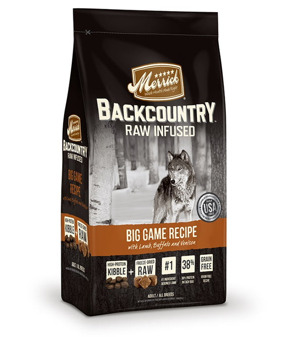 Merrick Backcountry Raw Infused Big Game Recipe Dog Food 12 Lbs