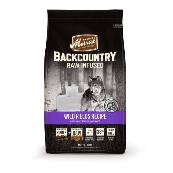 Merrick Backcountry Grain Free Raw Infused Wild Fields Recipe Dry Dog Food 12 Lbs