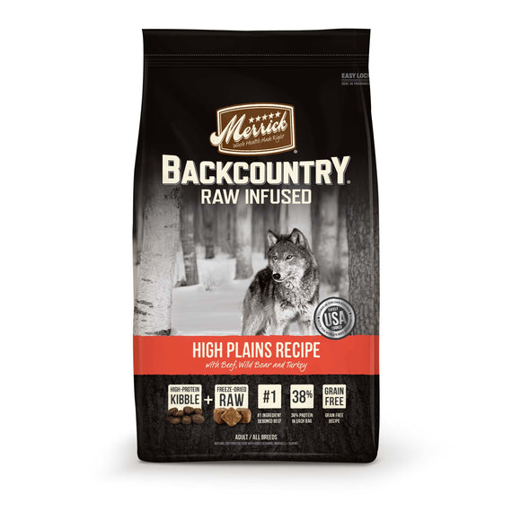 Merrick Backcountry Grain Free Raw Infused High Plains Recipe Dry Dog Food 22 Lbs